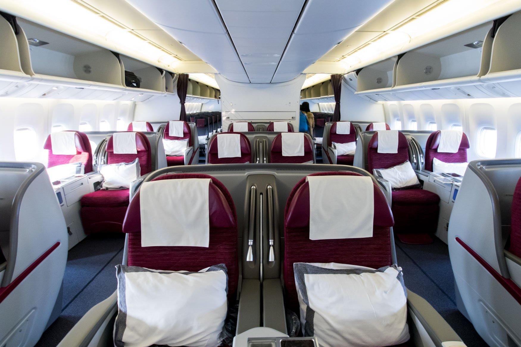 Qatar Airways Boeing 777-300ER Business Class Cabin