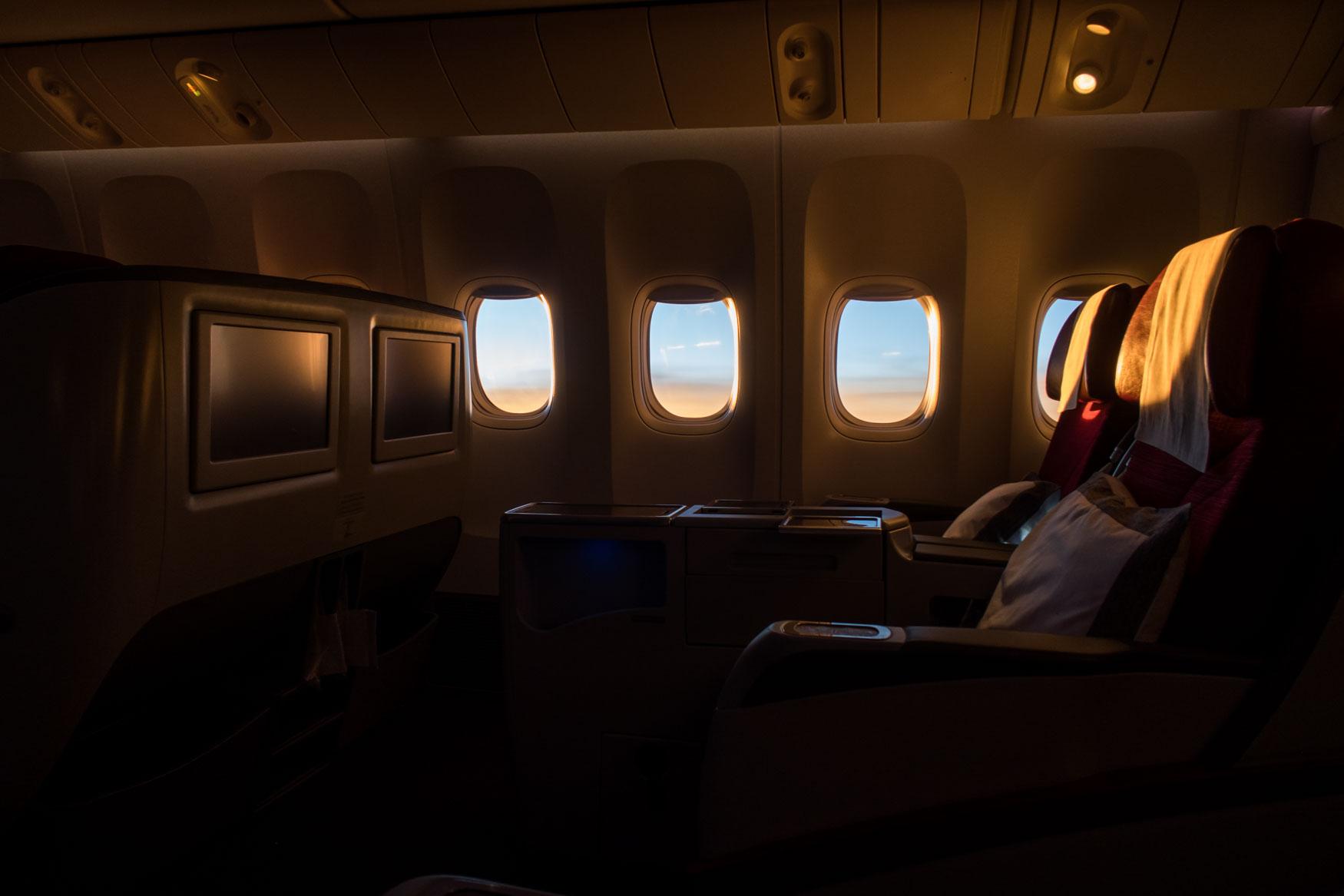 Sun Setting During Qatar Airways Flight from Hanoi to Doha