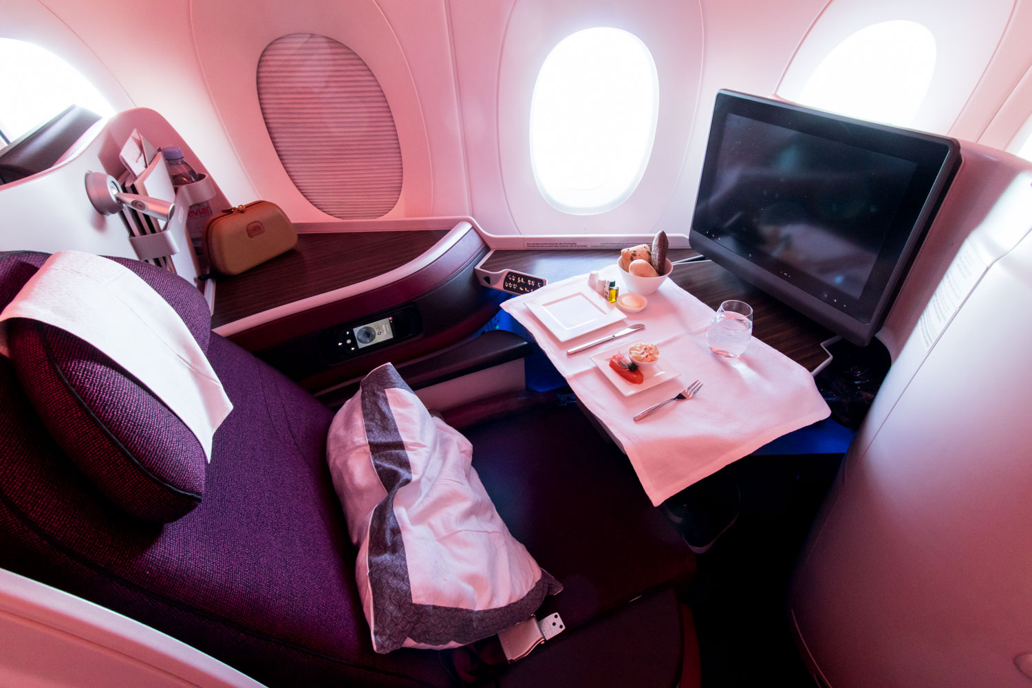 Lunch Setup on Qatar Airways A350 Business Class