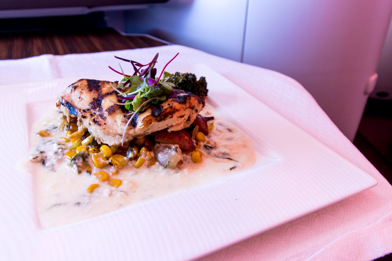 Chicken with Cream Sauce on Qatar Airways Business Class