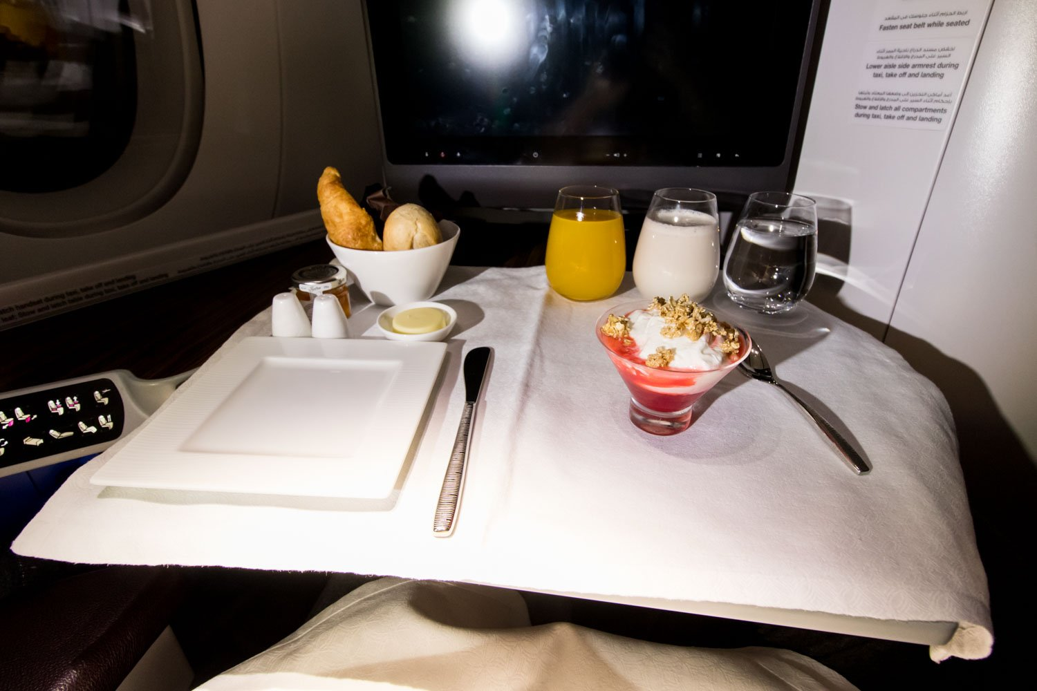 Breakfast on Qatar Airways Airbus A350-900