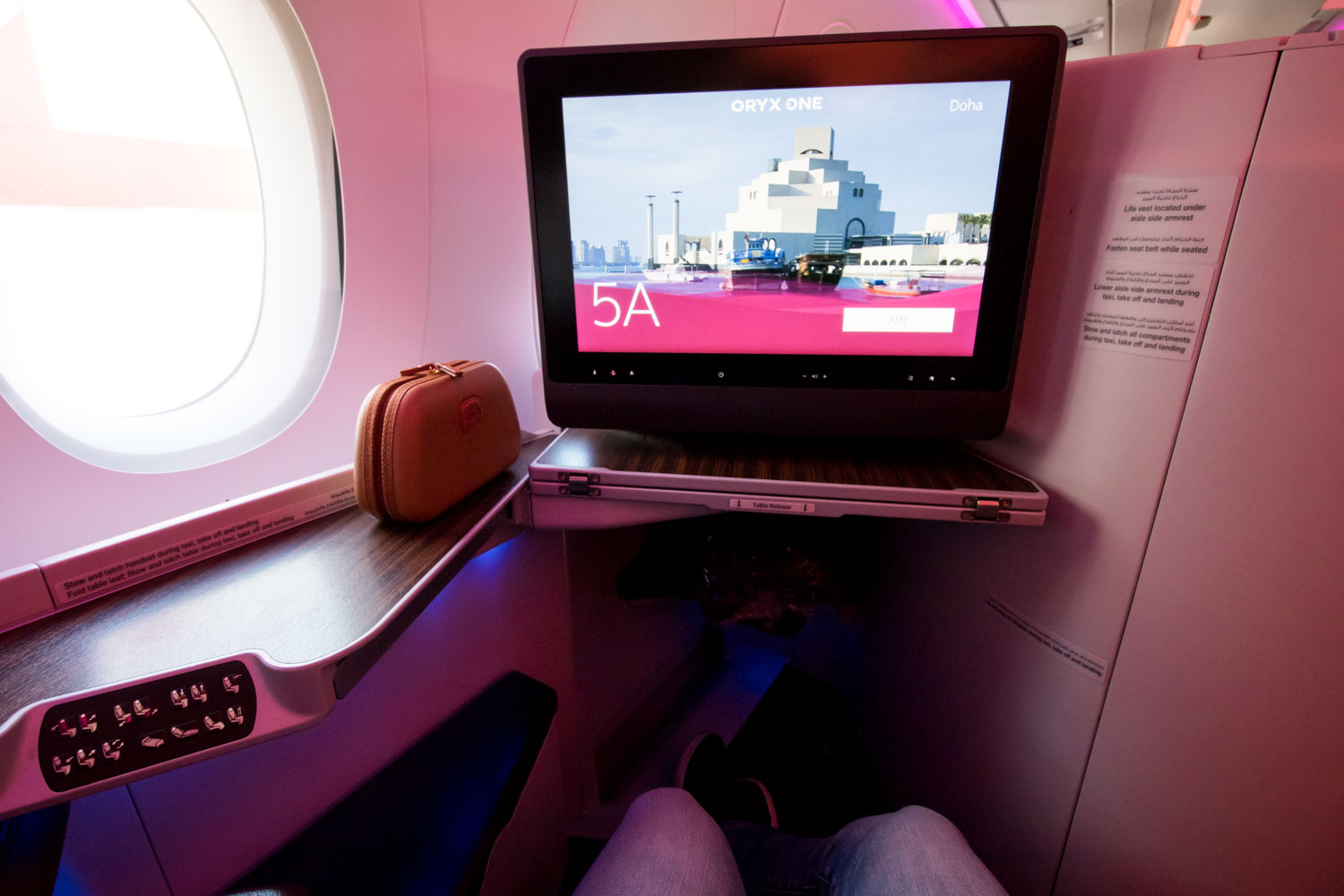 Sitting in Qatar Airways A350-900 Business Clas