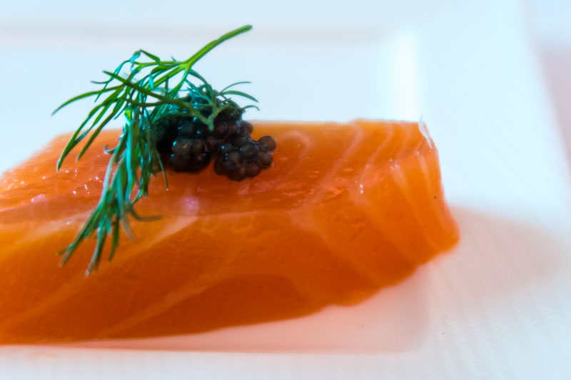 Qatar Airways Business Class Amuse-Bouche Salmon with Caviar