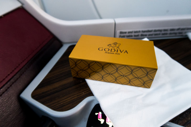 Qatar Airways Business Class Godiva Chocolates