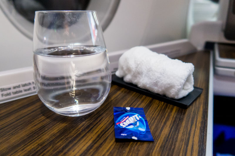 Smint and Hot Towel Onboard Qatar Airways Business Class