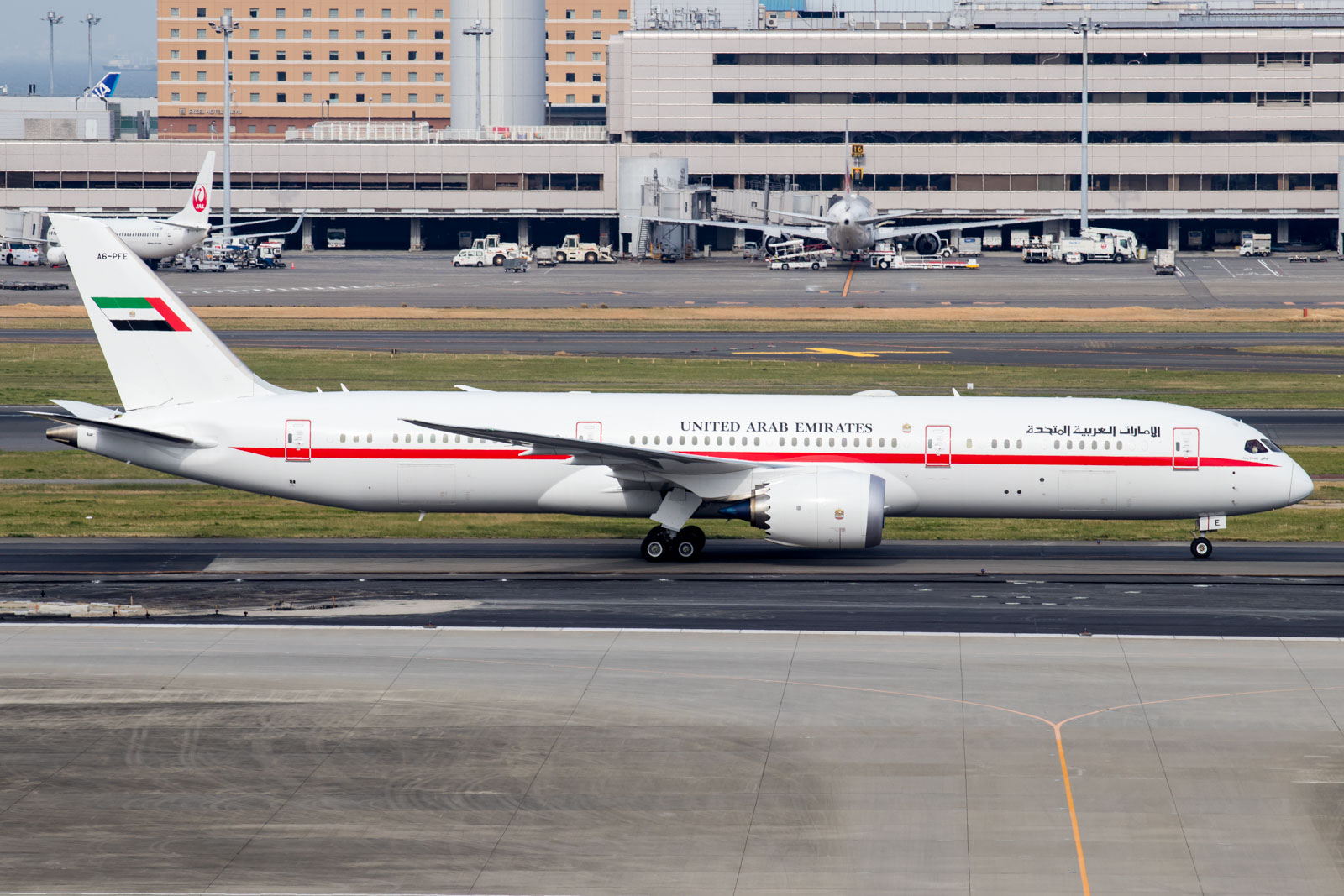 Abu Dhabi Amiri Flight Boeing 787-9 Taxiing After Landing at Tokyo Haneda