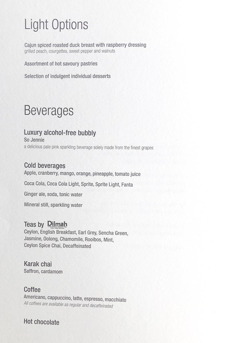 Qatar Airways Fifth Freedom Business Class Menu