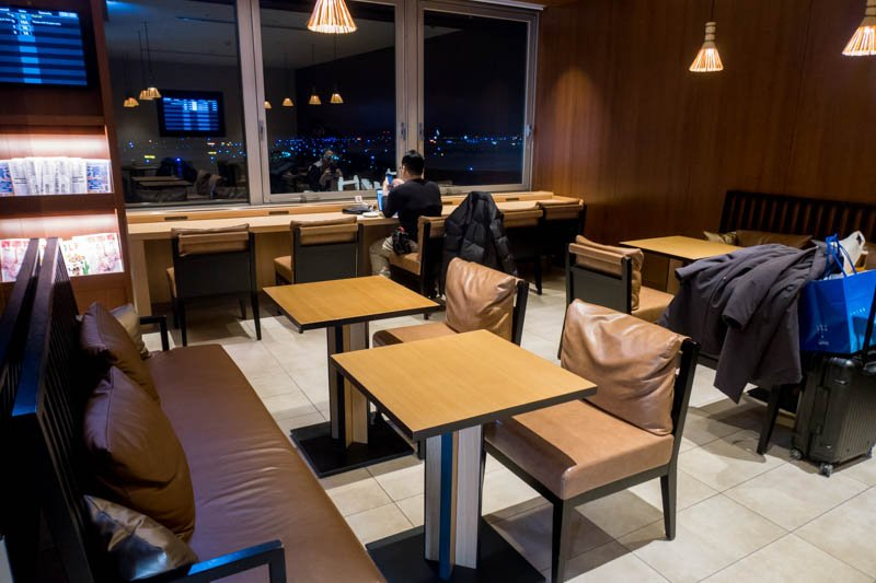 Seating in Sapporo New Chitose JAL Business Class Lounge