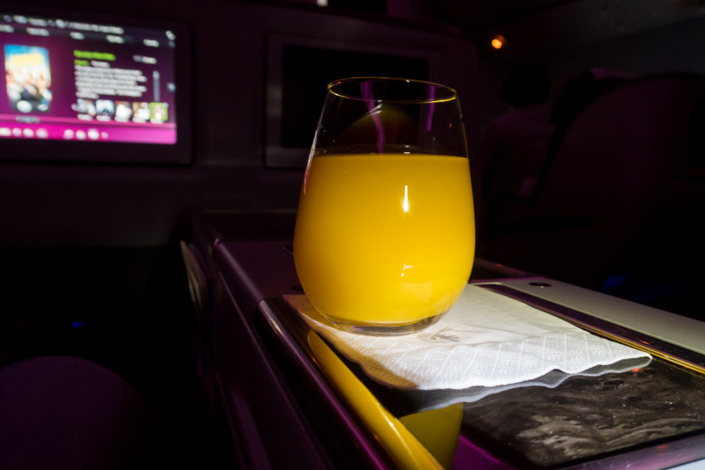 Qatar Airways Business Class Welcome Drink