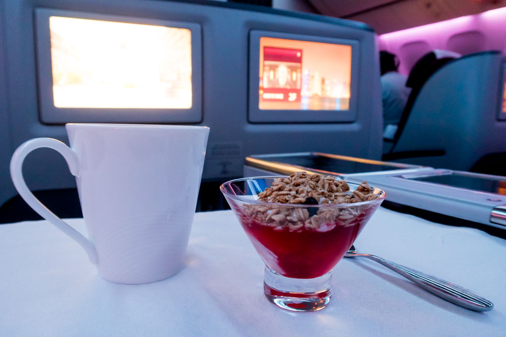 Qatar Airways Business Class Greek Yogurt