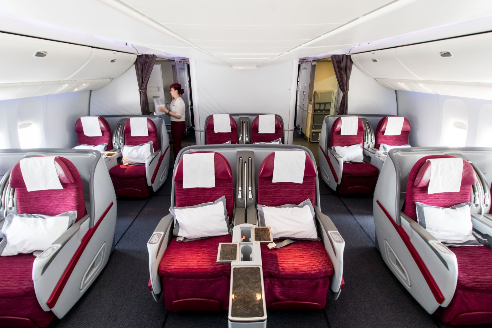 Qatar Airways 777-300ER Business Class Cabin Non-QSuite