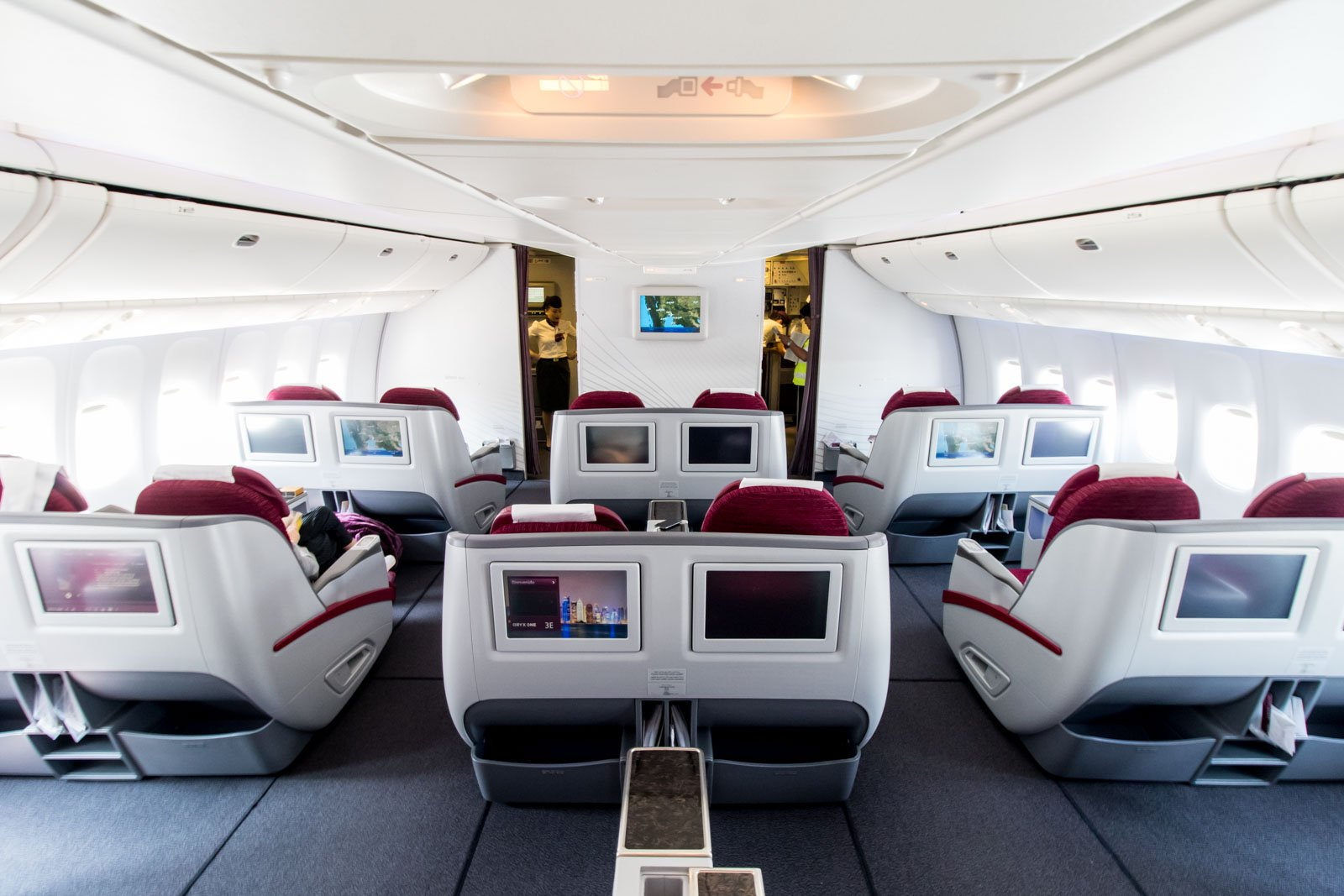 Qatar Airways Boeing 777-300ER Business Class Cabin