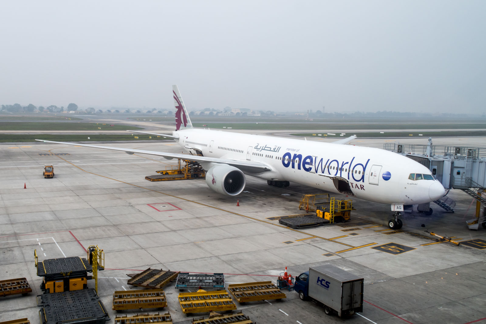 Qatar Airways Boeing 777-300ER OneWorld Livery at Hanoi Airport