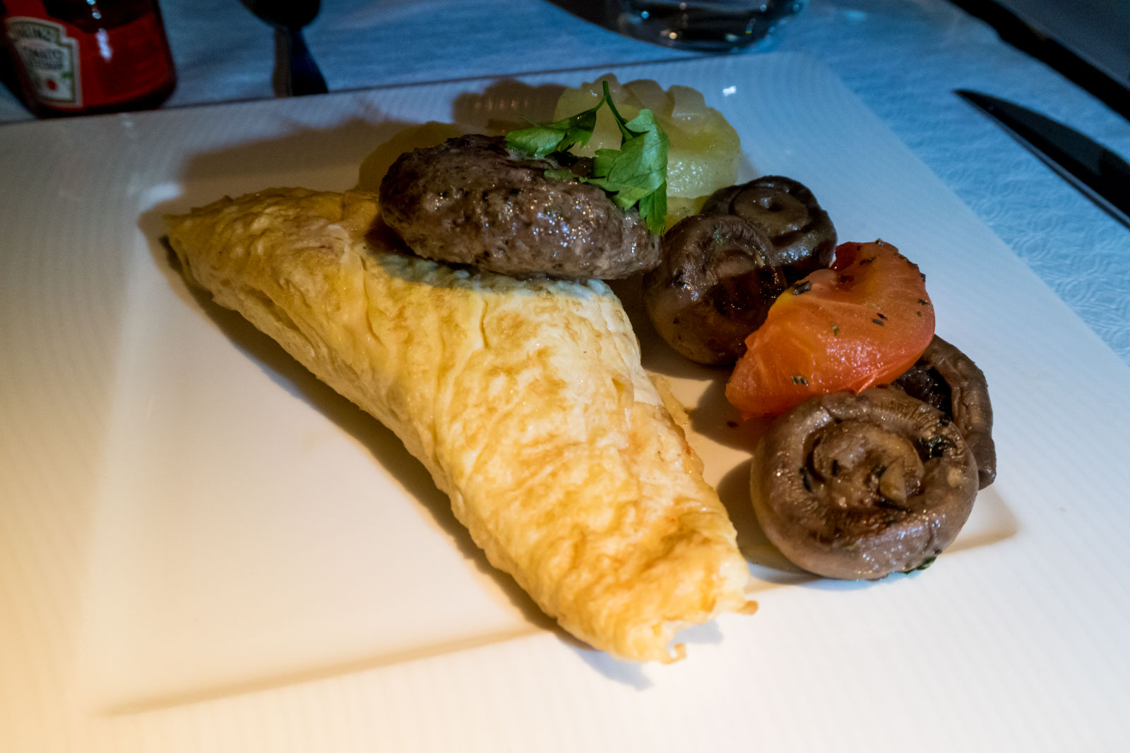 Qatar Airways Business Class Omelette