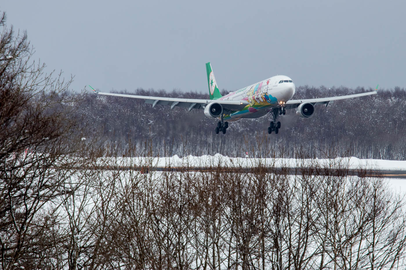 Eva Air Hello Kitty Arriving in Sapporo