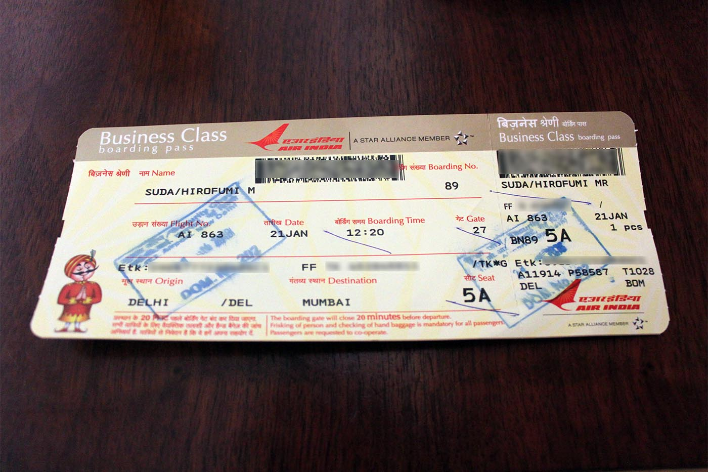 Air India Business Class Boarding Pass for Star Alliance Gold Members