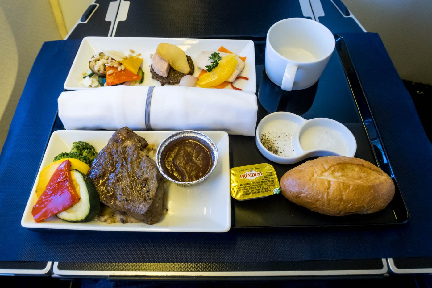 ANA Business Class Dinner