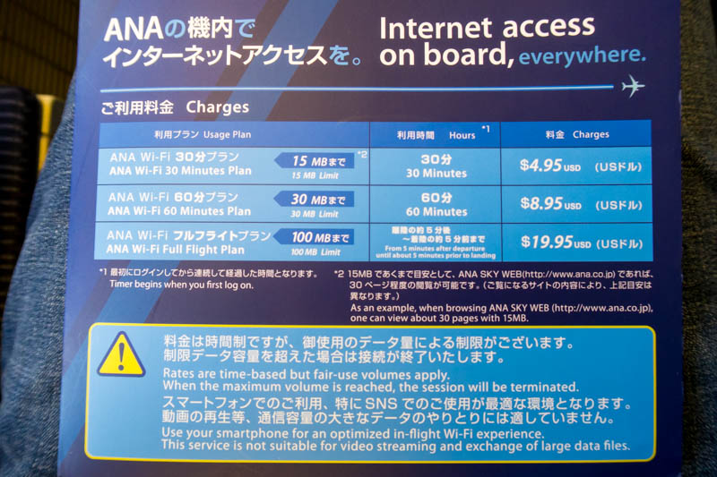 ANA Onboard Internet Pricing