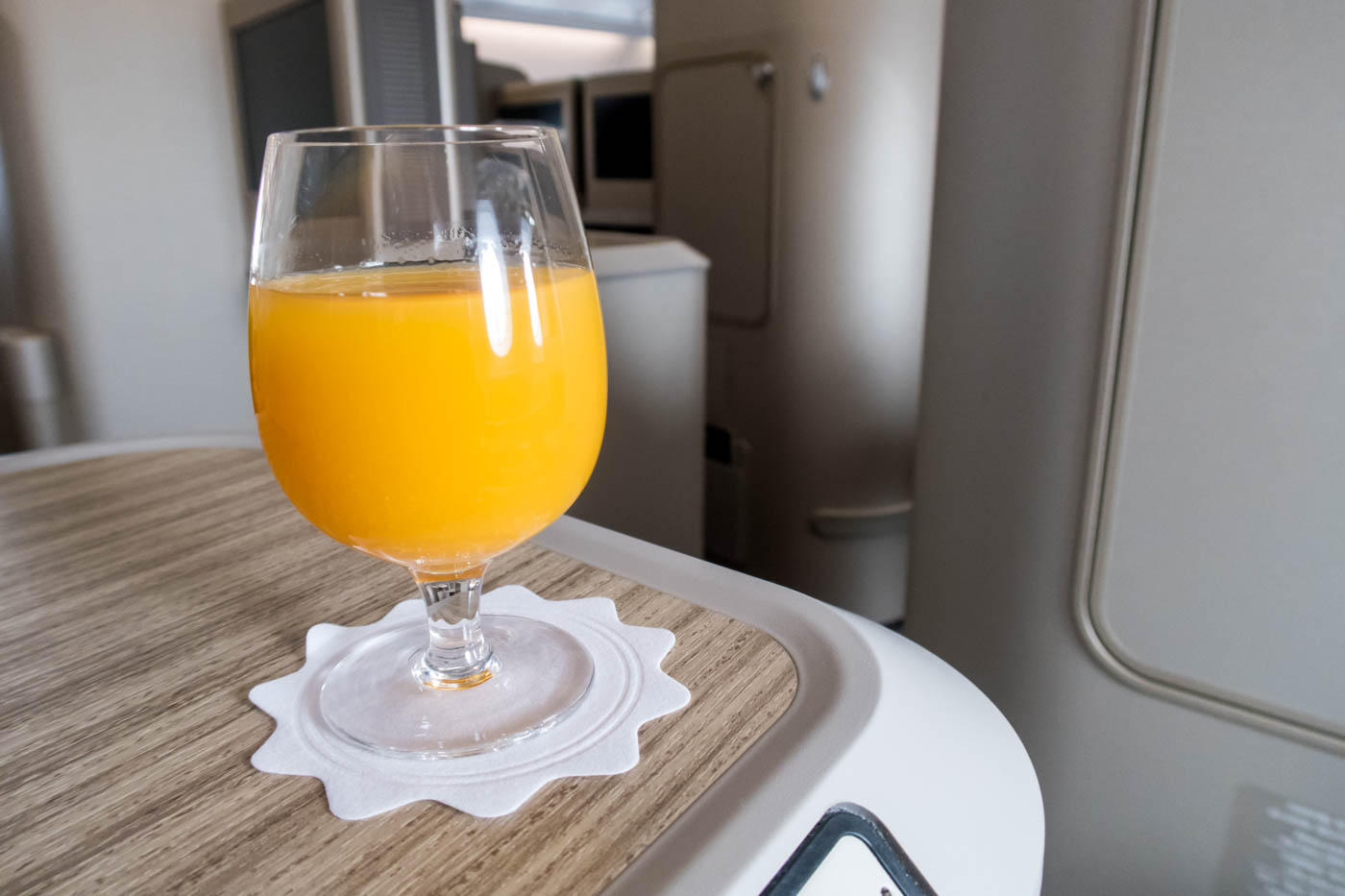 Asiana Airlines A380 Welcome Drink