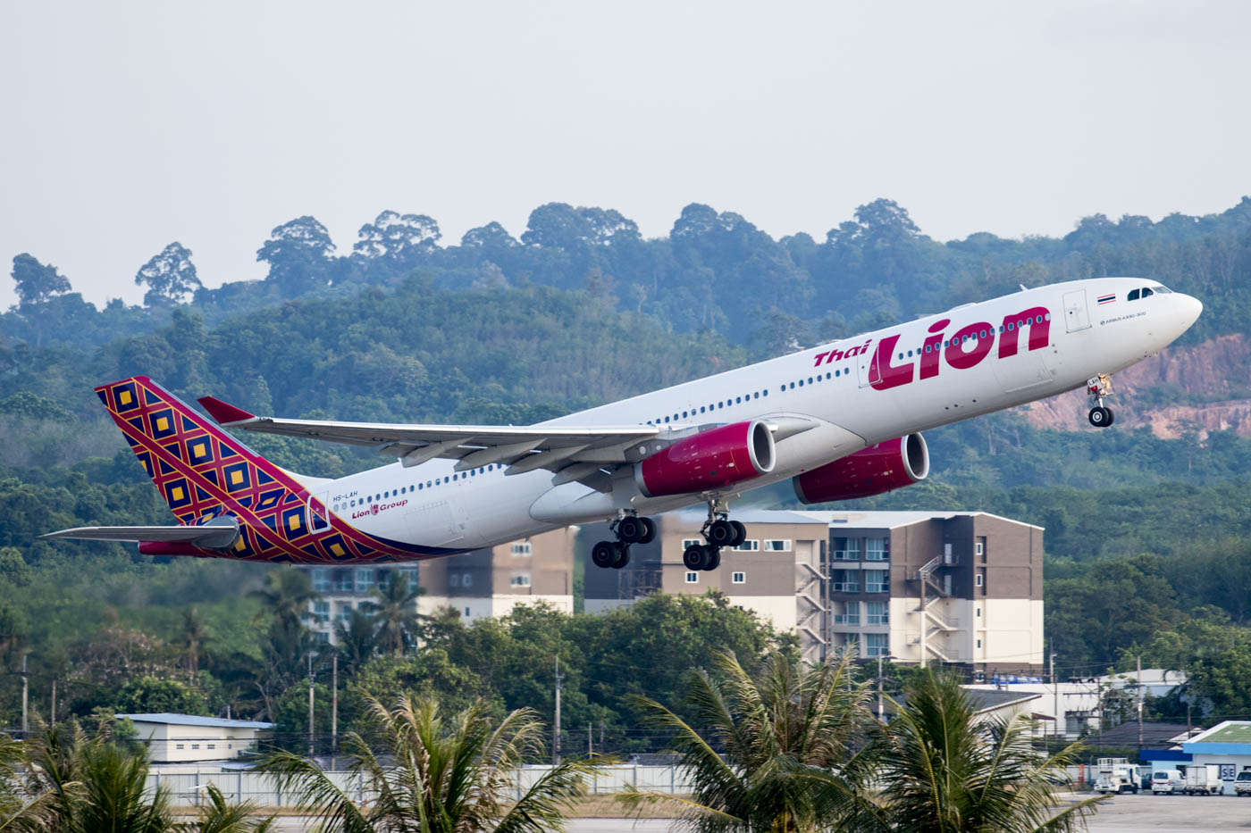 Lion Air Taking off as seen from Grand West Sands Resort & Villas Phuket