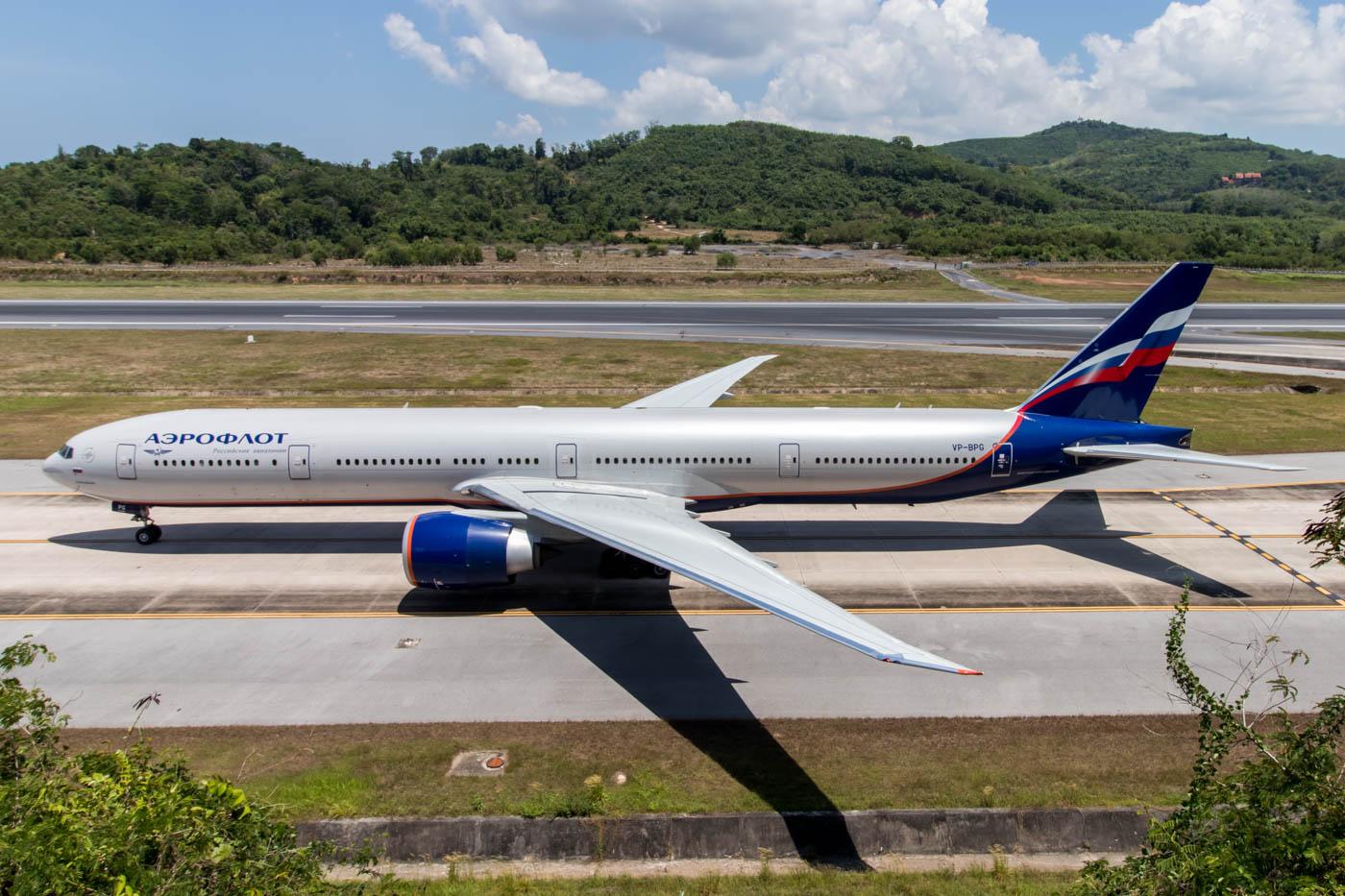 Aeroflot 777-300ER at Phuket Airport