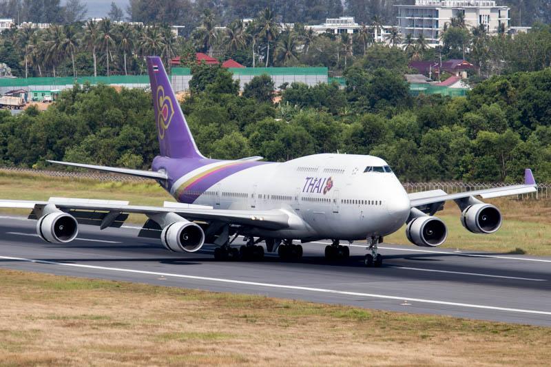 Thai Airways 747 at Phuket Airport