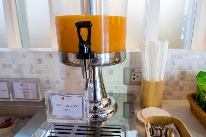 Orange Juice in Thai Airways Royal Orchid Lounge North