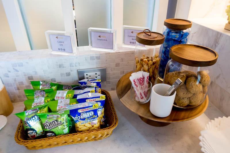 Snacks in Thai Airways International Lounge at Phuket Airport