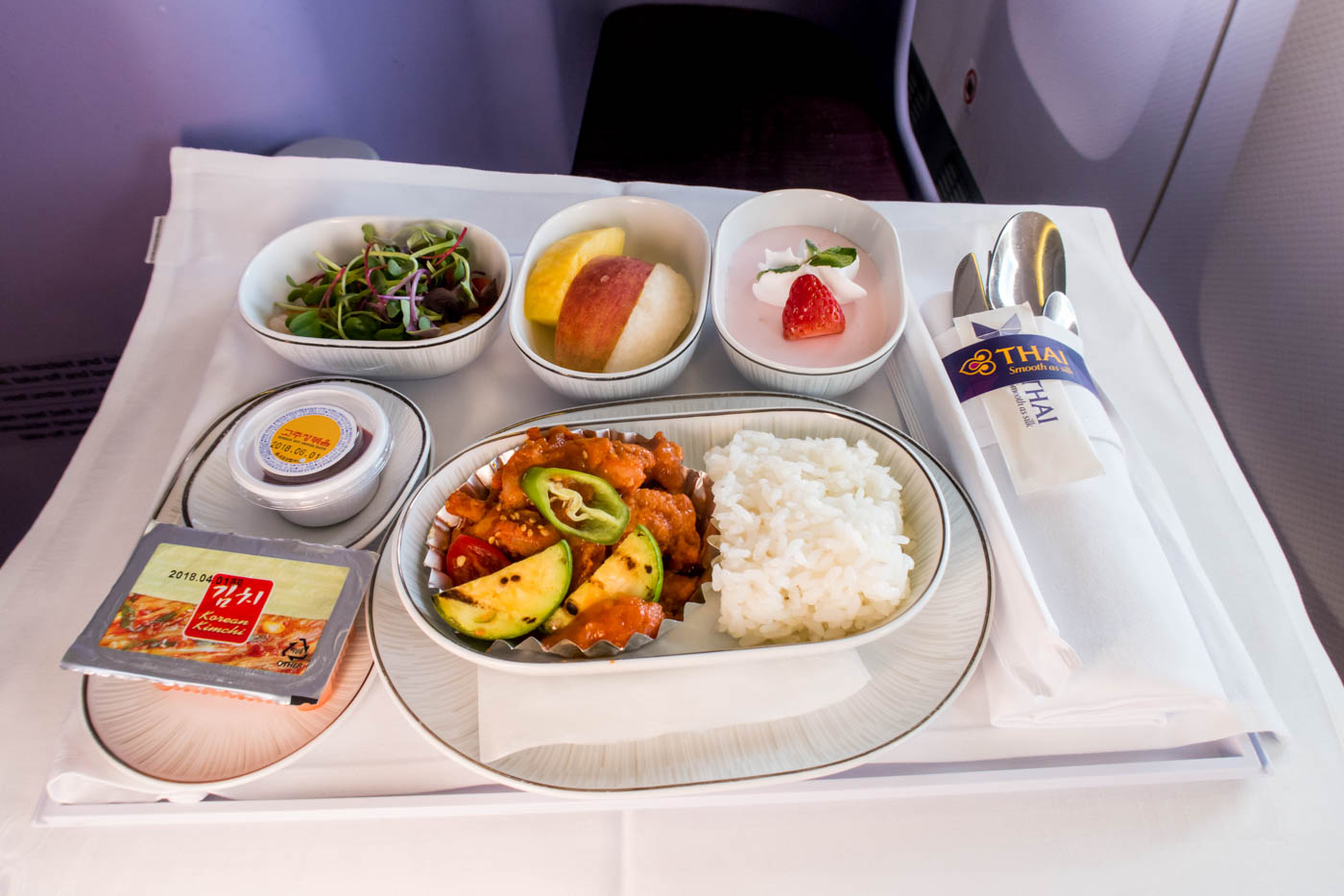 Thai Airways Korean Dinner Business Class