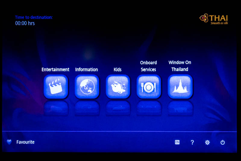 Thai Airways IFE Main Menu