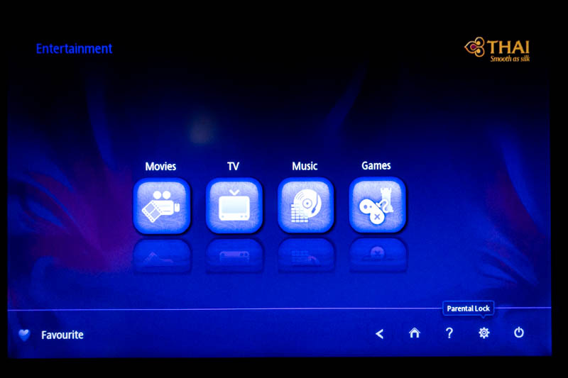 Thai Airways IFE Entertainment Menu