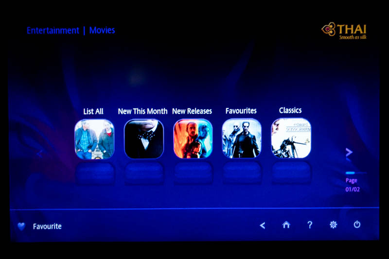 Thai Airways IFE Movie Categories