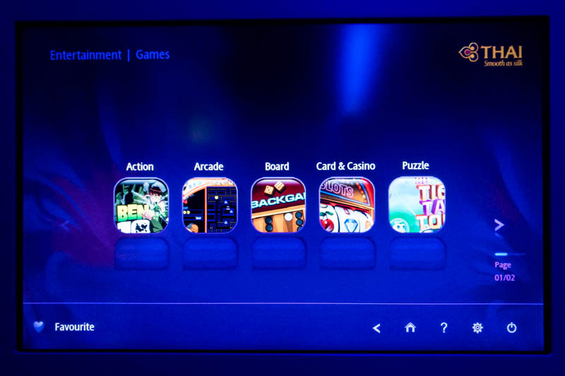 Thai Airways IFE Game Categories