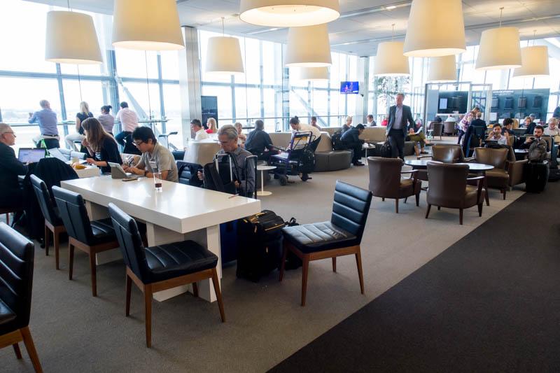 Crowded British Airways Lounge at Heathrow