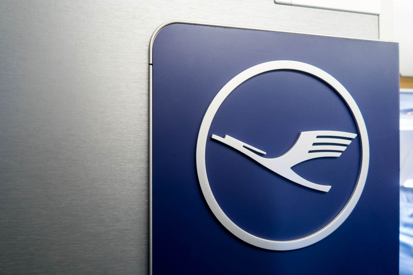 Nice-looking Lufthansa logo on the aircraft's wall.