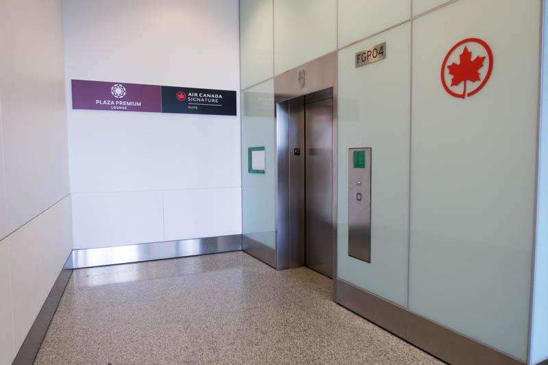 Elevator to Plaza Premium Lounge and Air Canada Signature Suite