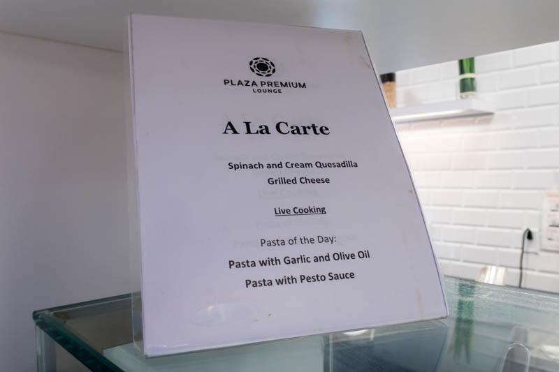 A La Carte Menu Plaza Premium Toronto