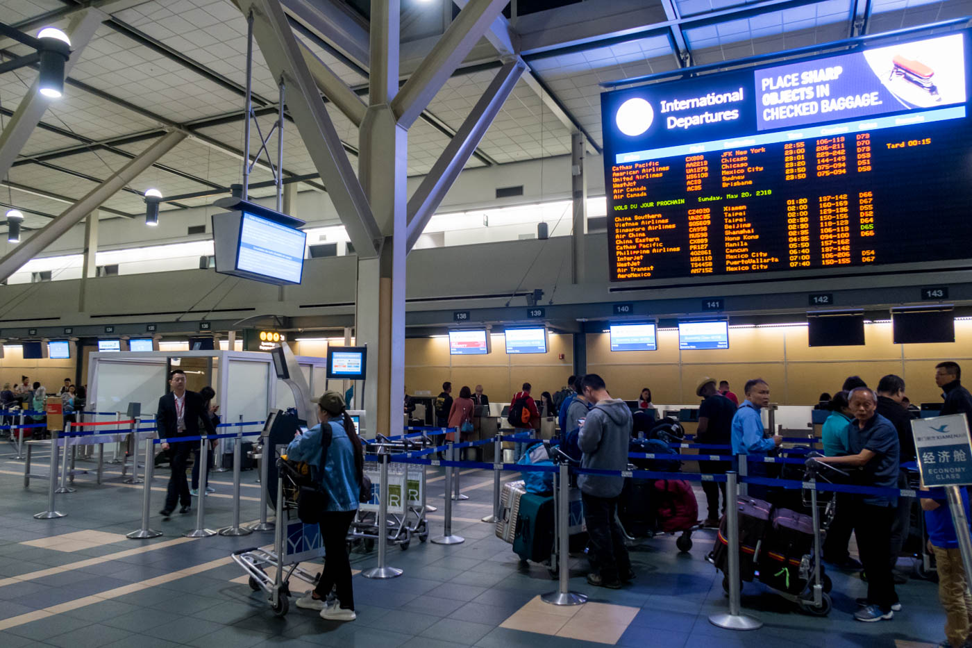 Xiamen Air Check-in Counters at Vancouver Airport