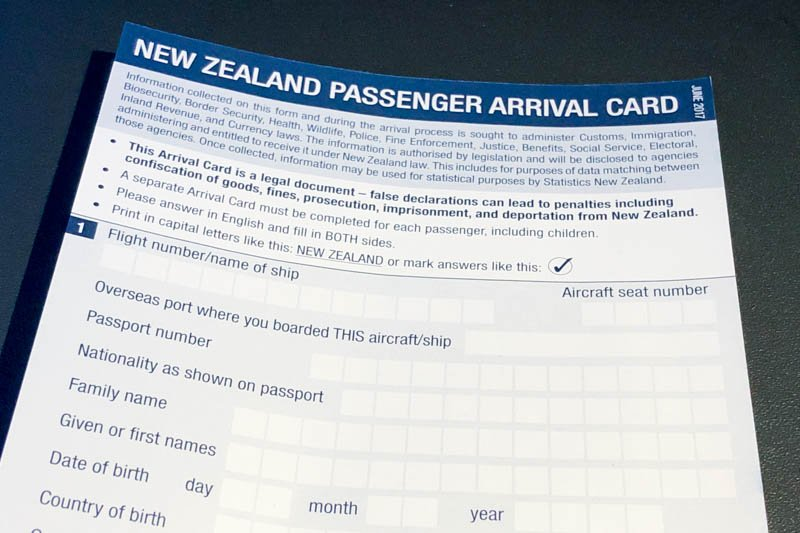 New Zealand Customs Form