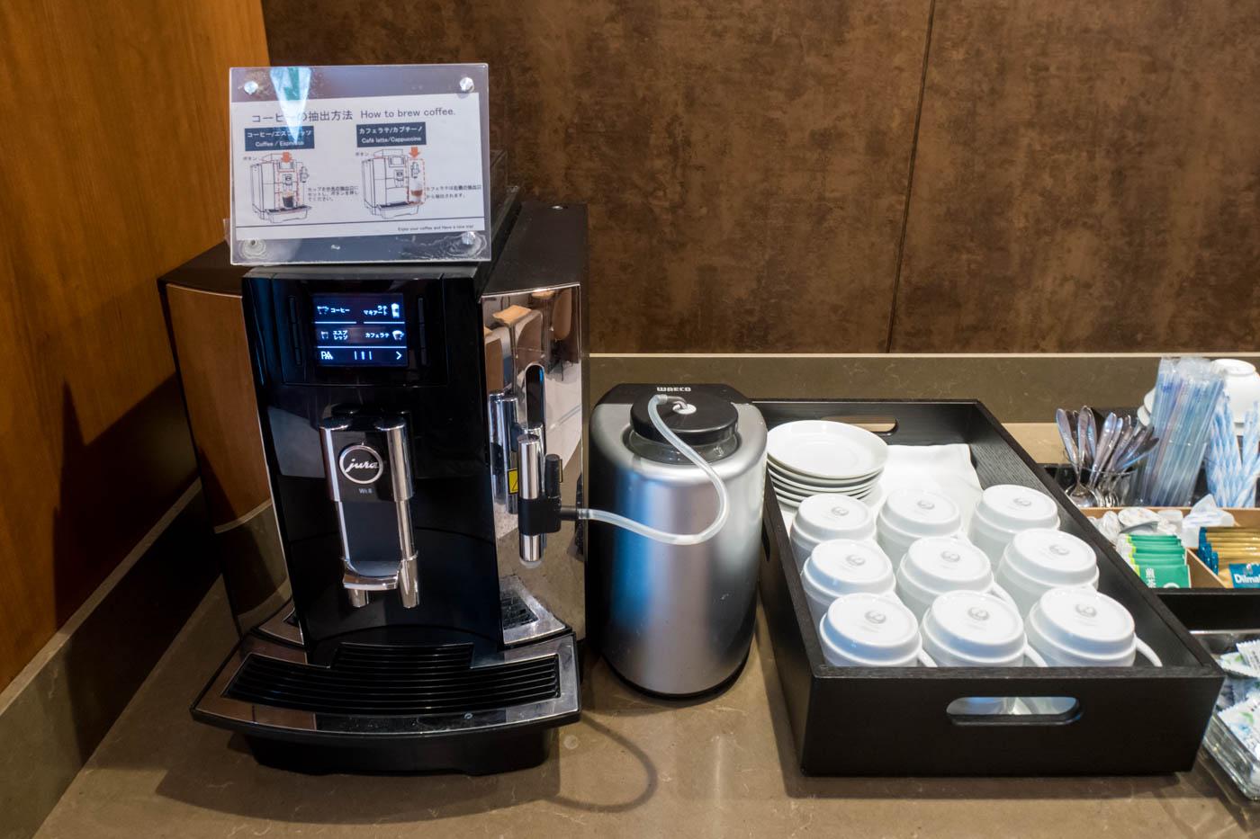 Coffee in Sakura Lounge at Kagoshima Airport