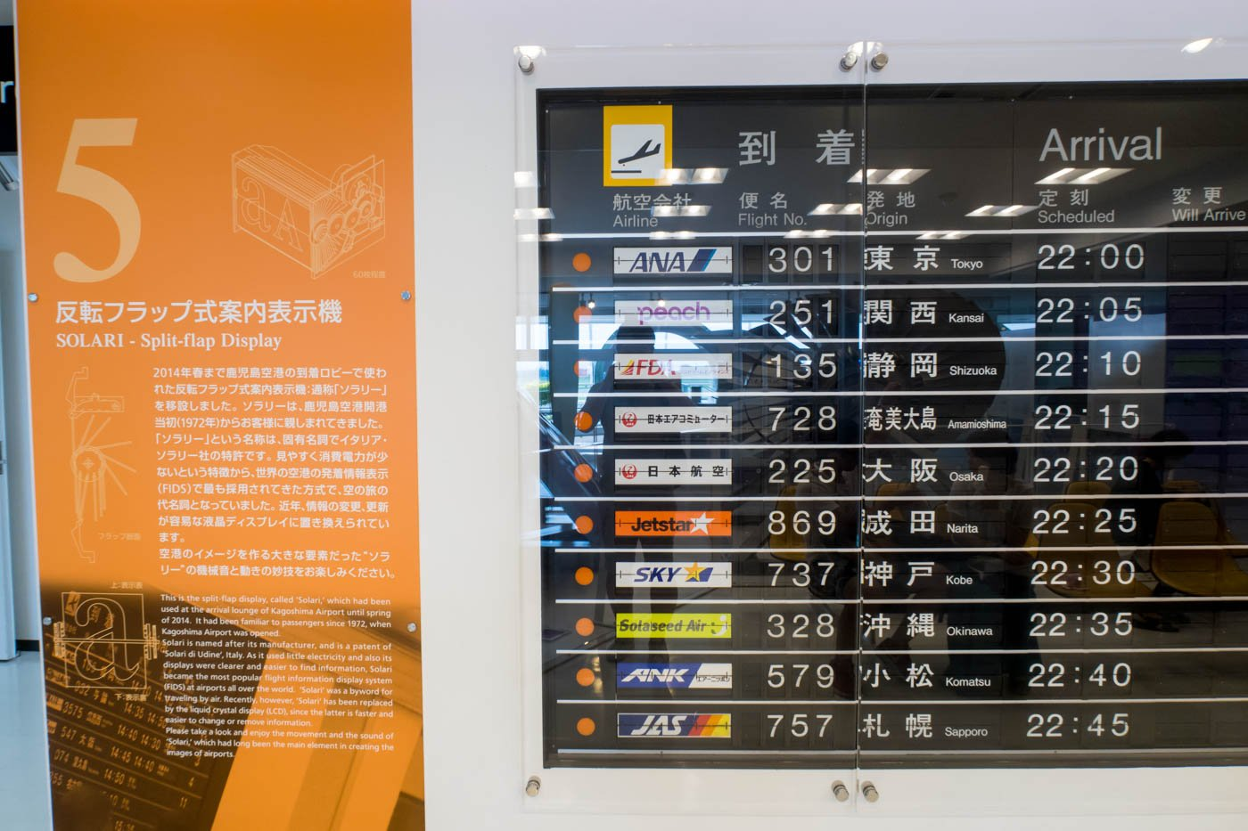 SOLARI Split-flap Display at Kagoshima Airport