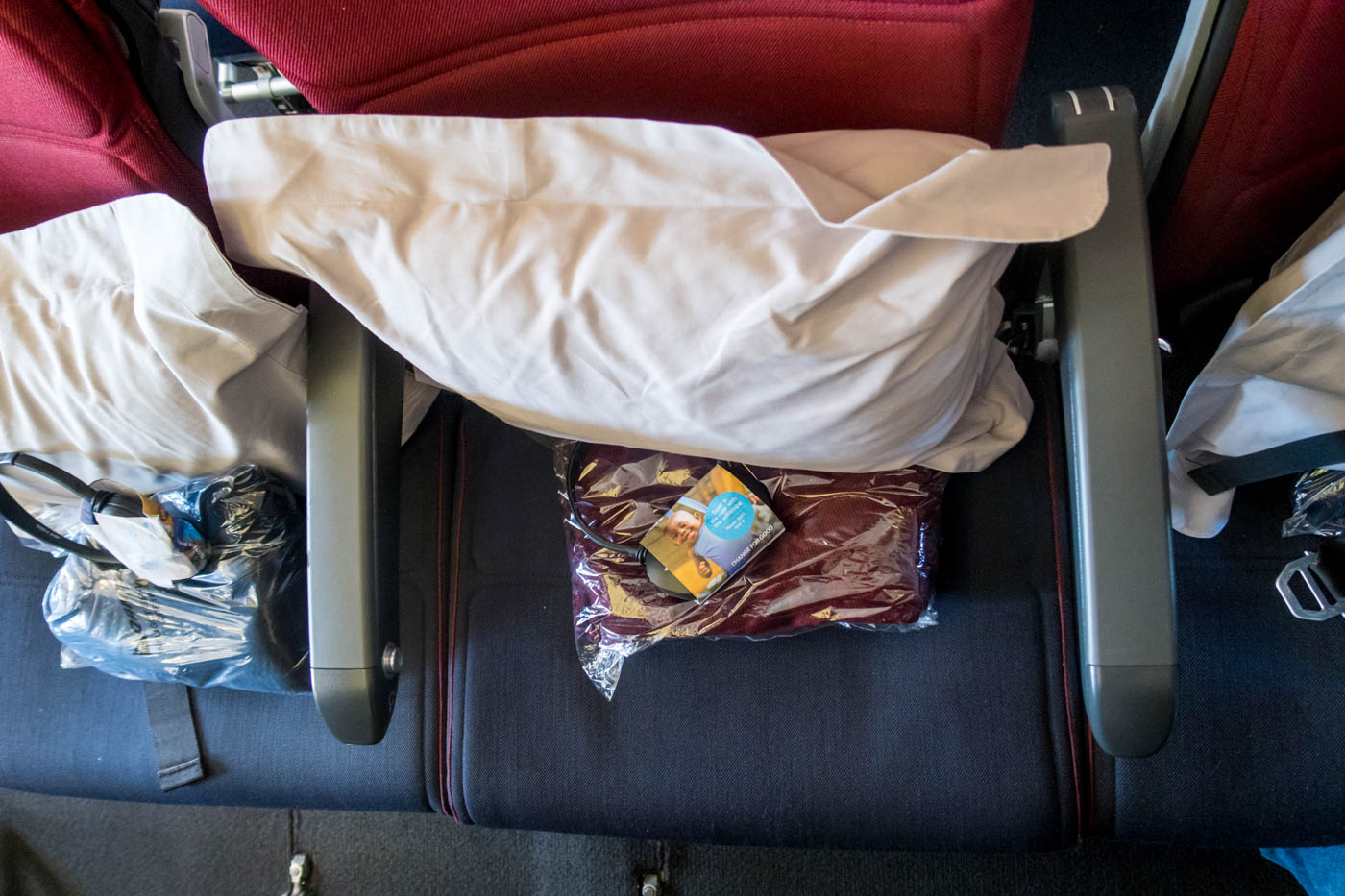 Qantas Headset, Pillow, Blanket