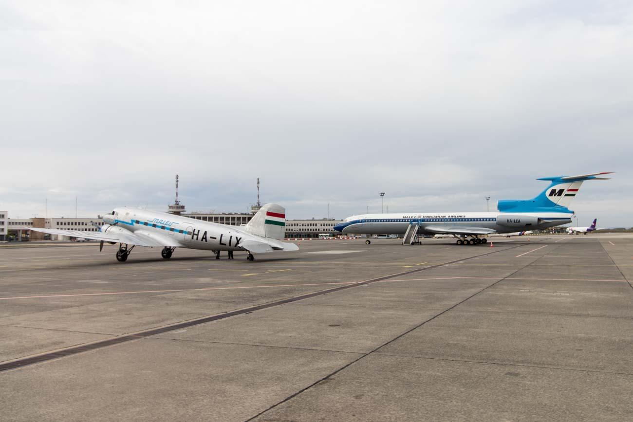 Malev Lisunov Li-2 and Tupolev Tu-154B-2