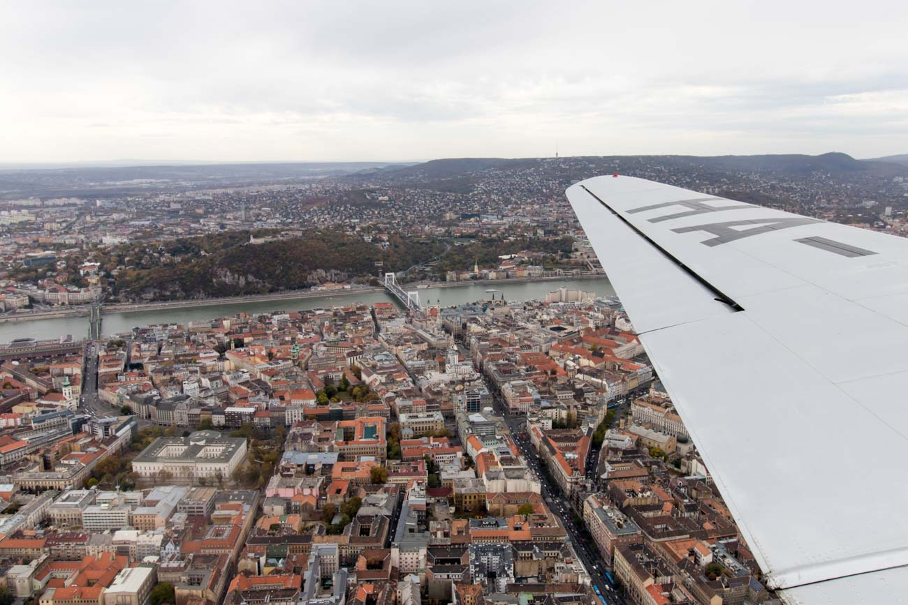 Flying Over Budapest City Center on a Li-2
