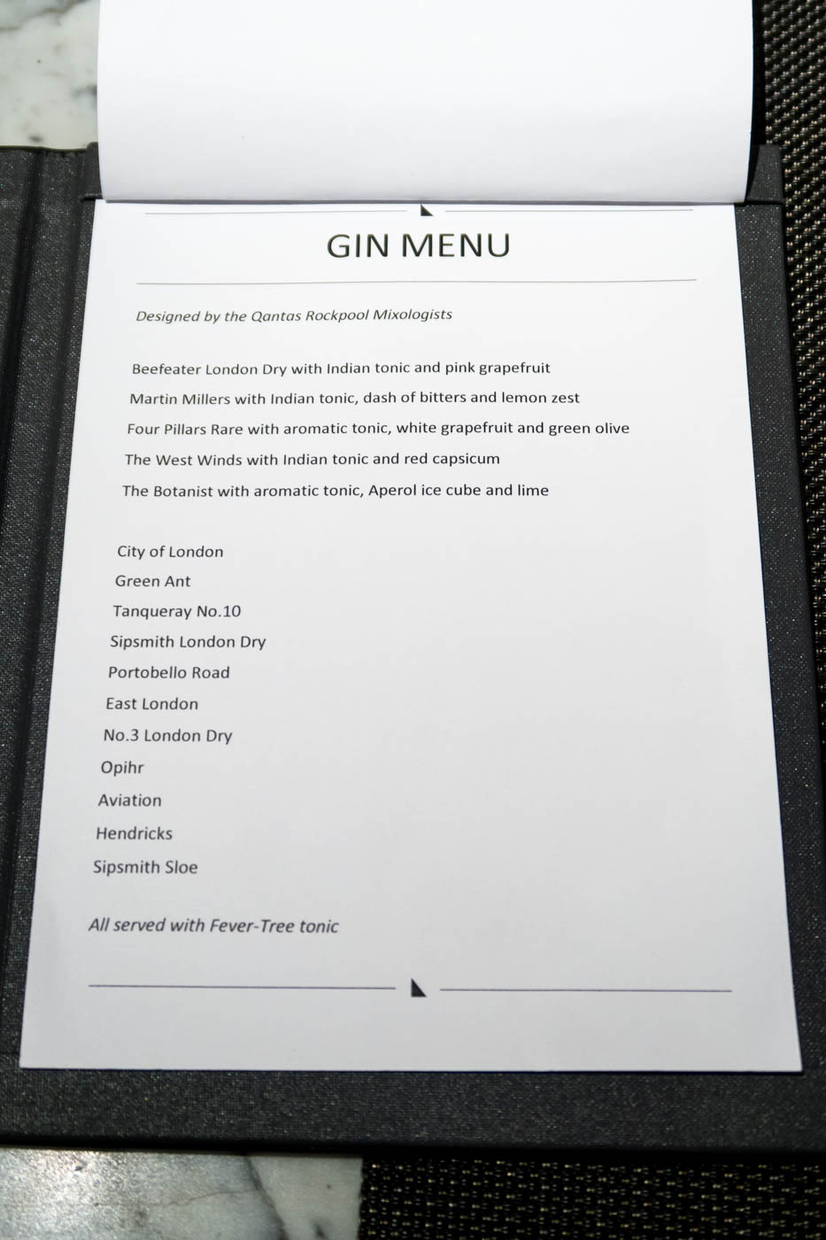 The Qantas London Lounge Gin Menu