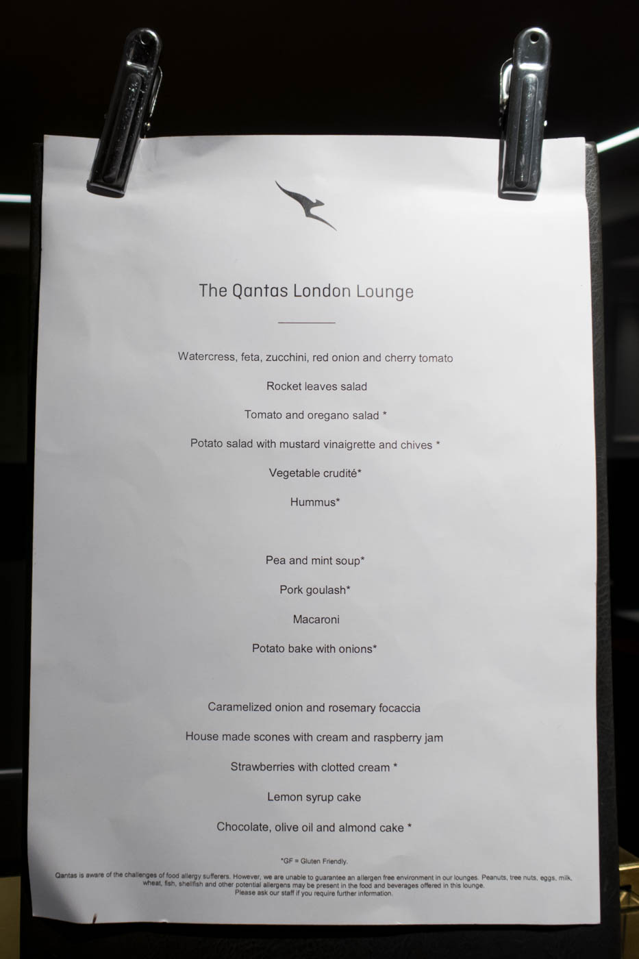 The Qantas London Lounge Buffet Items