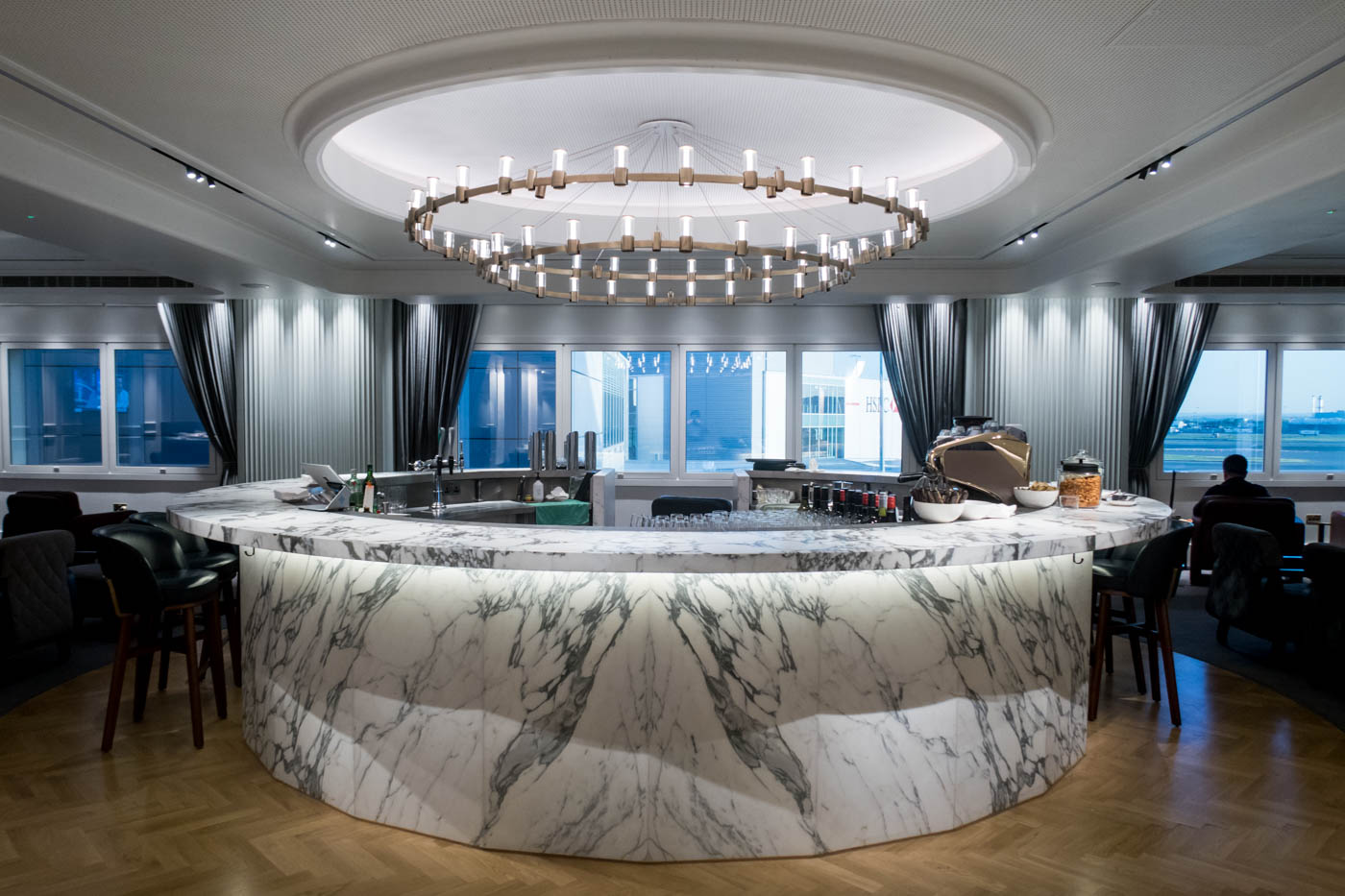 The Qantas London Lounge Circular Bar