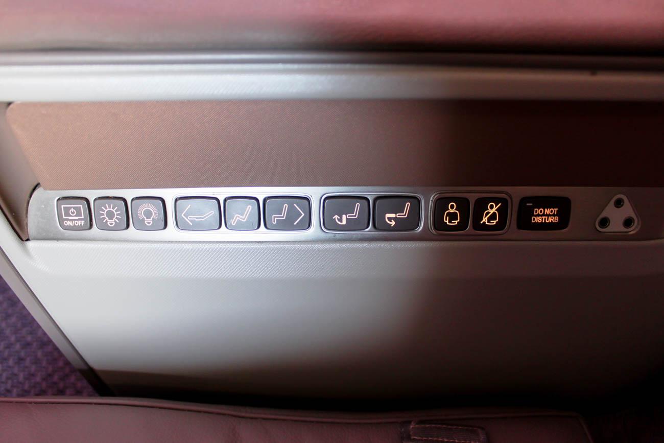 Seat Controls on Singapore A350
