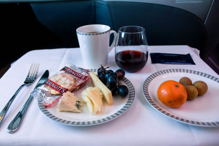 Cheese and Fruits Course on Singapore Airlines