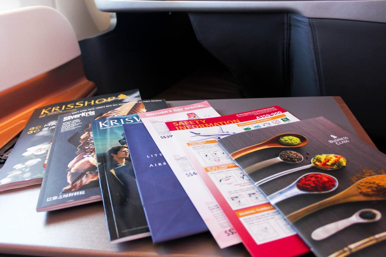 Singapore Airlines In-Flight Magazine, Menu, etc.
